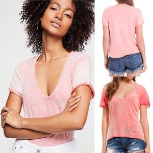 We The Free coral v-neck burnout t-shirt NWT